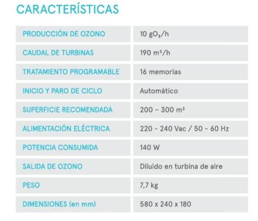 Características especificas del generador ozono de pared de la empresa star holding. Una maquina perfecta para desinfectar tu local o hogar.