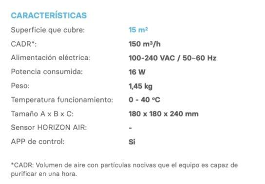Características de Star Horizon, el nuevo purificador de aire de Star Holding.
