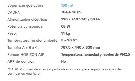 Características técnicas de Star 700, la herramienta perfecta para tener un mejor aire que respirar a tu alrededor.