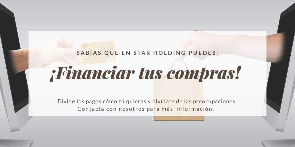 En Star Holding puedes financiar la compra de cualquiera de tlos productos que vendemos. Simplemente contacta con nosotros para saber más.