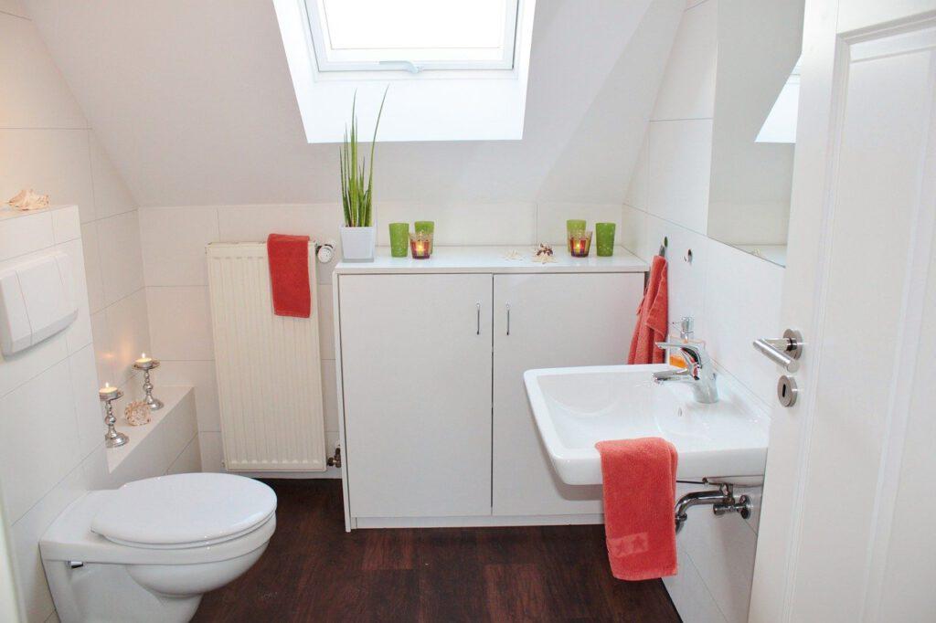 Baño limpio que usa un generador de ozono en su interuir